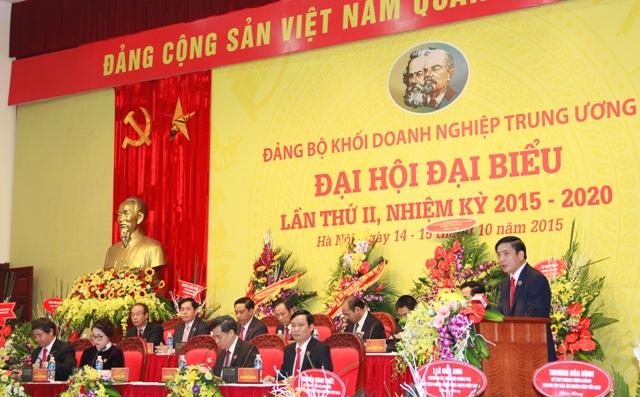 Đồng chí Bùi Văn Cường, Ủy viên dự khuyết Trung ương Đảng, Bí thư Đảng ủy Khối DNTW phát biểu khai mạc Đại hội.