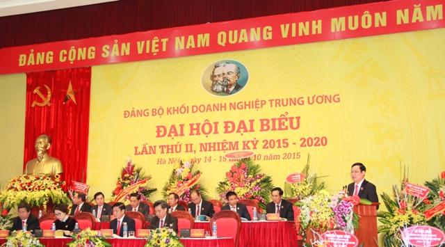 Đồng chí Phạm Tấn Công, Phó Bí thư Đảng ủy Khối trình bày Báo cáo kiểm điểm của Ban Chấp hành Đảng bộ Khối nhiệm kỳ 2015 - 2020.