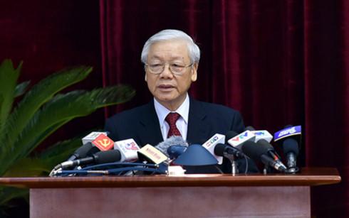 Tổng Bí thư Nguyễn Phú Trọng phát biểu bế mạc Hội nghị.