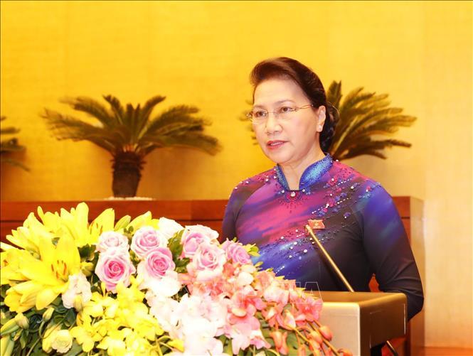 Chủ tịch Quốc hội Nguyễn Thị Kim Ngân phát biểu khai mạc Kỳ họp thứ sáu, Quốc hội khóa XIV.