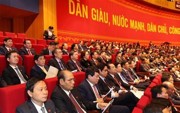 Đoàn đại biểu Đảng bộ Khối Doanh nghiệp Trung ương dự Đại hội. (Ảnh: TTXVN)