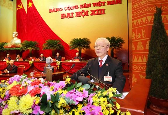 Đồng chí Nguyễn Phú Trọng, Tổng Bí thư Ban Chấp hành Trung ương khóa XIII, Chủ tịch nước CHXHCN Việt Nam đọc Diễn văn bế mạc Đại hội. (Ảnh: TTXVN)